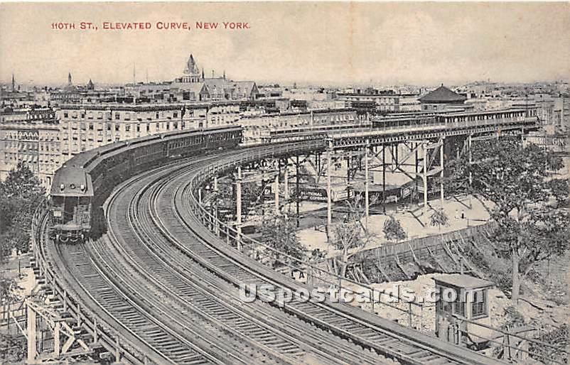 110th Street, Elevated Curve - New York City Postcards, New York NY Postcard