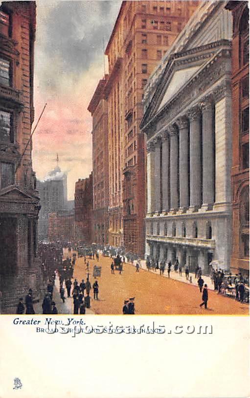 Broad Street & Stock Exchange - New York City Postcards, New York NY Postcard