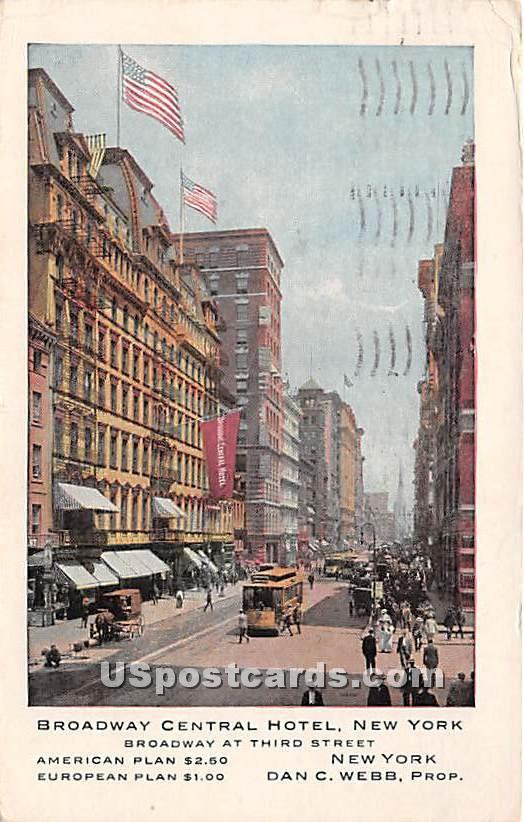 Broadway Central Hotel - New York City Postcards, New York NY Postcard