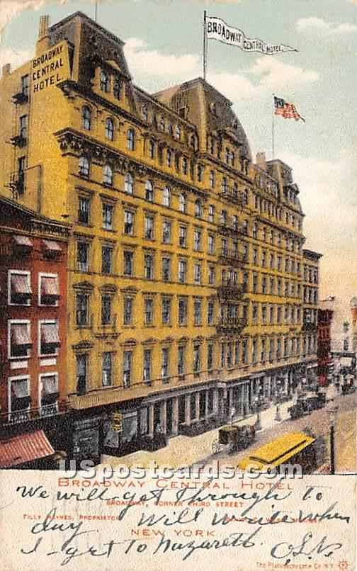 Broadway Central Hotel - New York City Postcards, New York NY Postcard