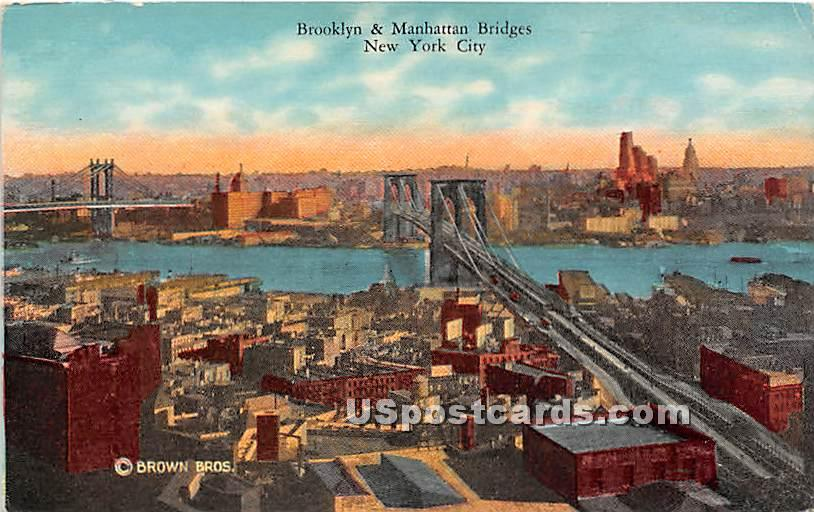 Brooklyn & Manhattan Bridge - New York City Postcards, New York NY Postcard