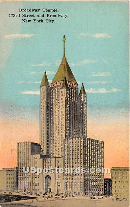 Broadway Temple - New York City Postcards, New York NY Postcard