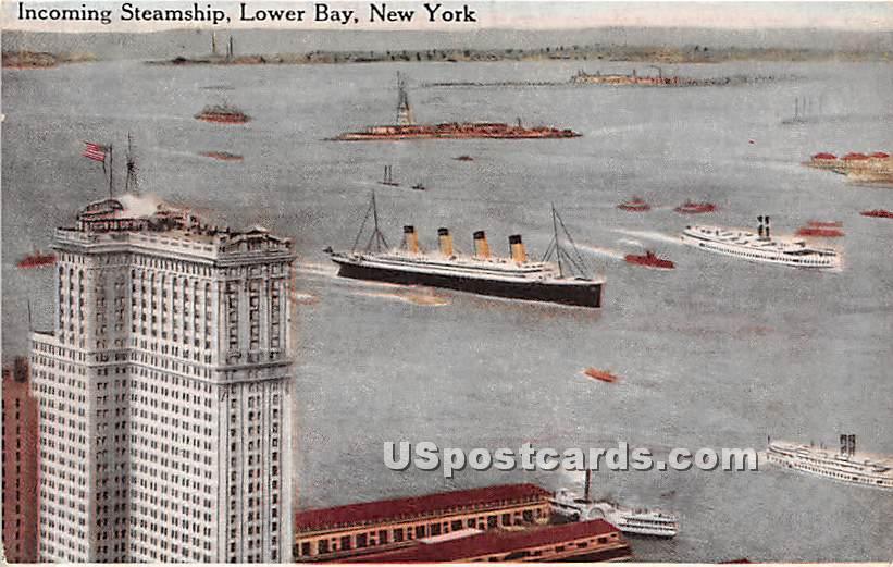 Incoming Steamship, Lower Bay - New York City Postcards, New York NY Postcard