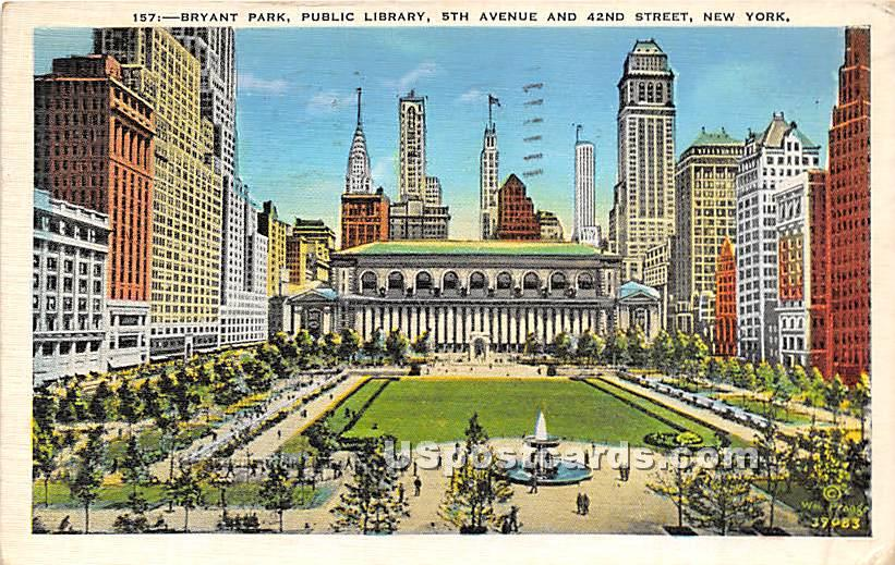 Bryant Park - New York City Postcards, New York NY Postcard