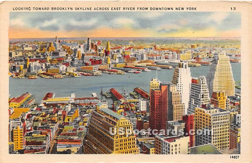 Brooklyn, East River - New York City Postcards, New York NY Postcard