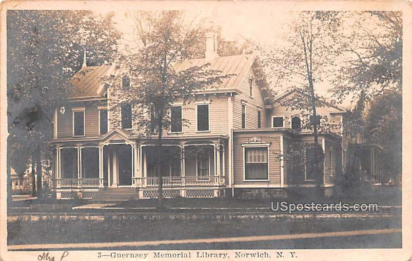 Guernsey Memorial Library - Norwich, New York NY Postcard