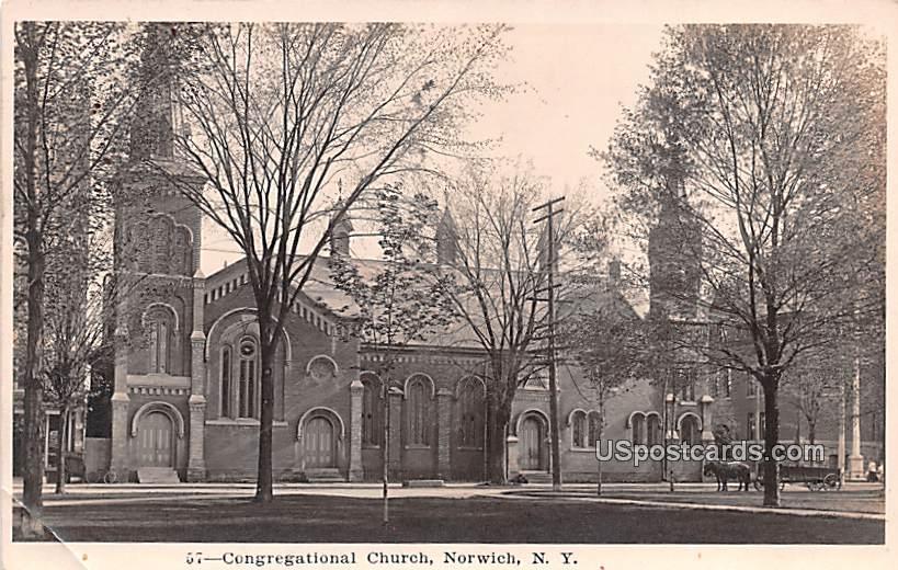 Congregational Church - Norwich, New York NY Postcard