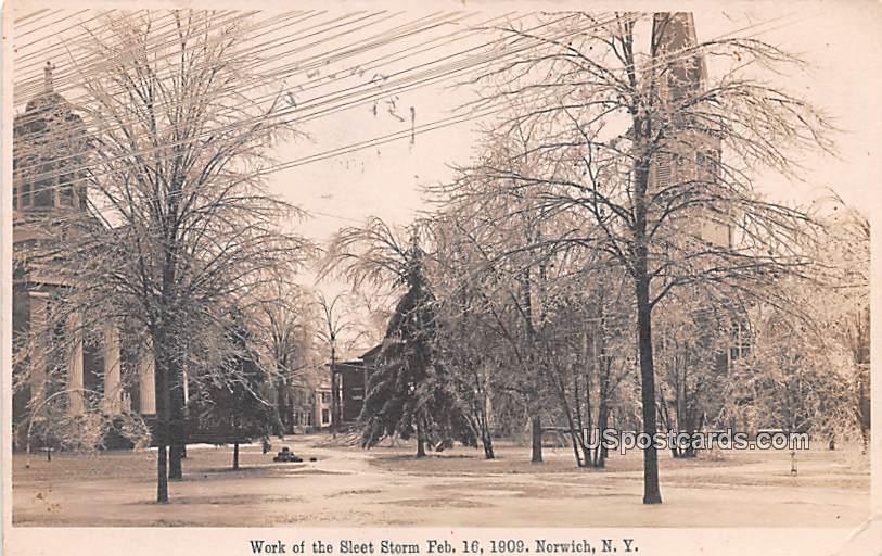 Work of the Sleet Storm Feb 16, 1909 - Norwich, New York NY Postcard