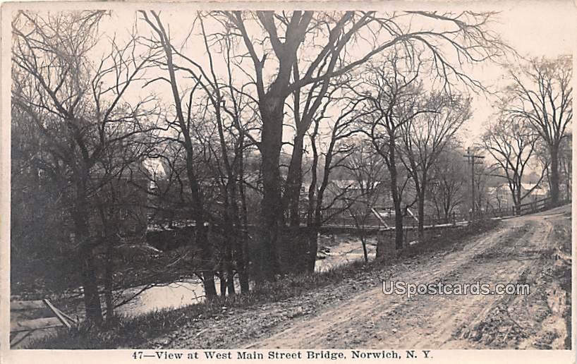View at West Main Street Bridge - Norwich, New York NY Postcard