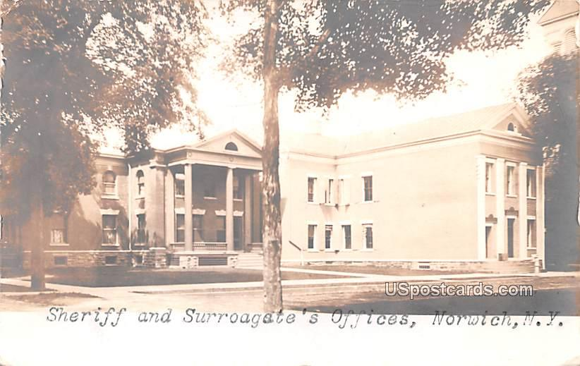 Sheriff and Surrogate's Office - Norwich, New York NY Postcard