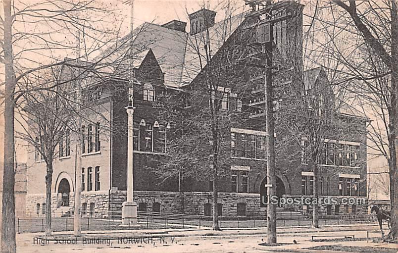 High School Building - Norwich, New York NY Postcard