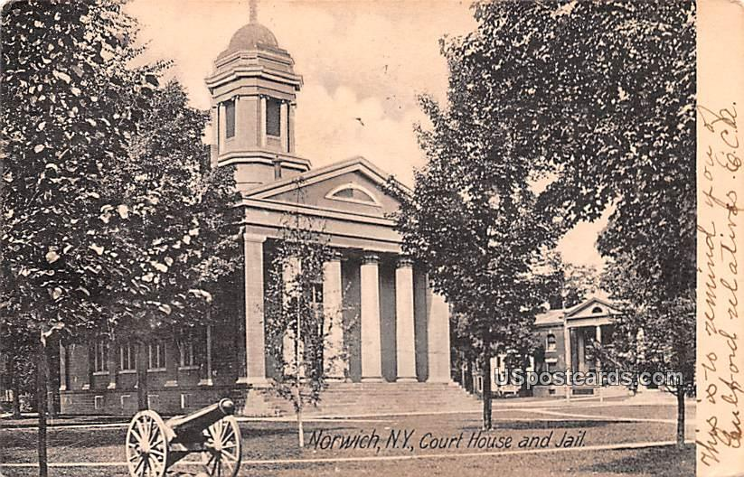 Court House and Jail - Norwich, New York NY Postcard