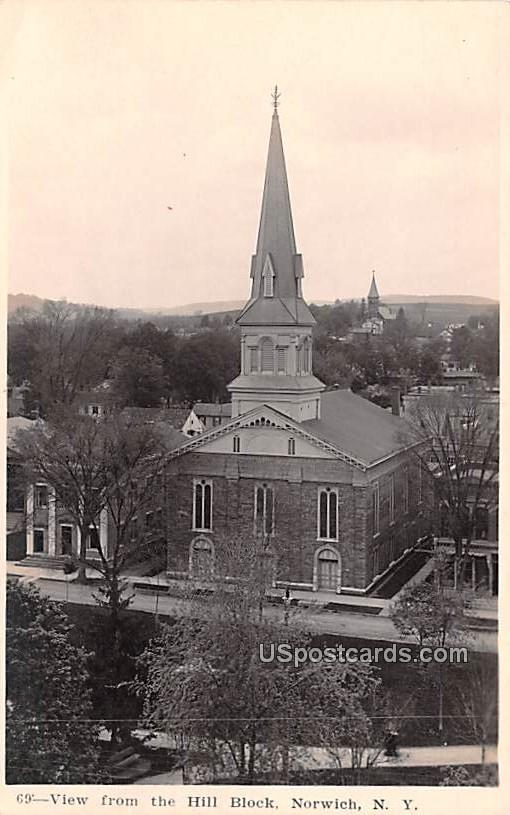View from Hill Block - Norwich, New York NY Postcard