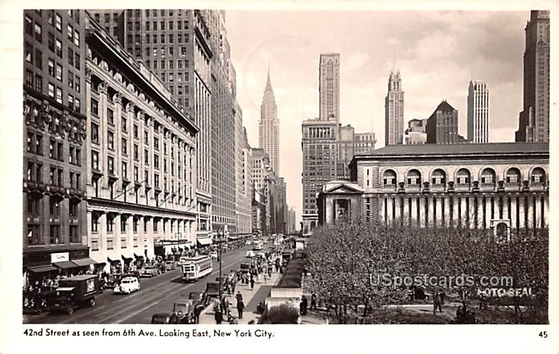 42nd Street from 6th Avenue - New York City Postcards, New York NY Postcard