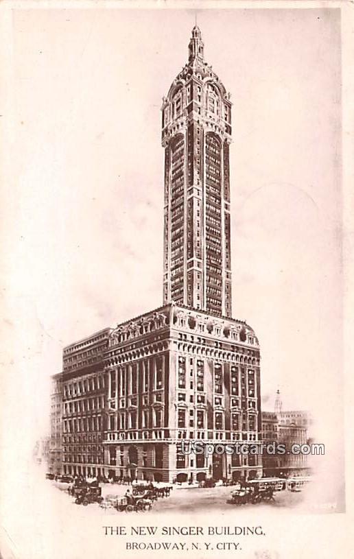 The New Singer Building - New York City Postcards, New York NY Postcard