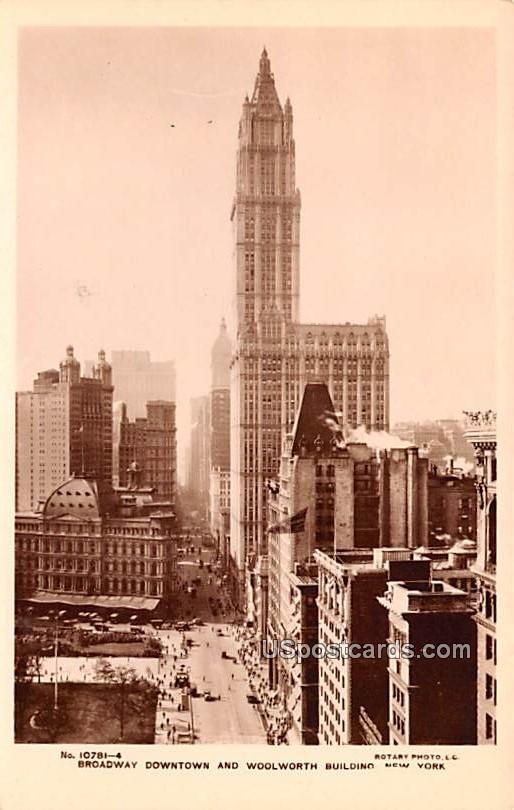 Broadway Downtown and Woolworth Building - New York City Postcards, New York NY Postcard