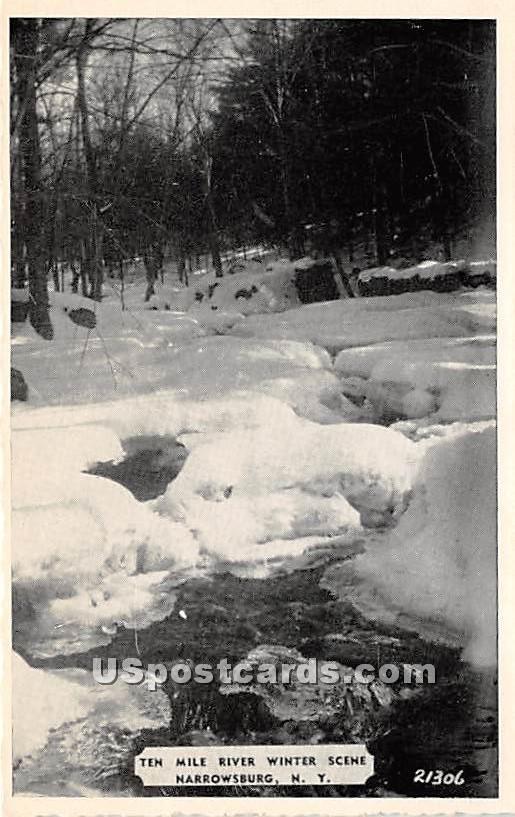 Ten Mile River Winter Scene - Narrowsburg, New York NY Postcard