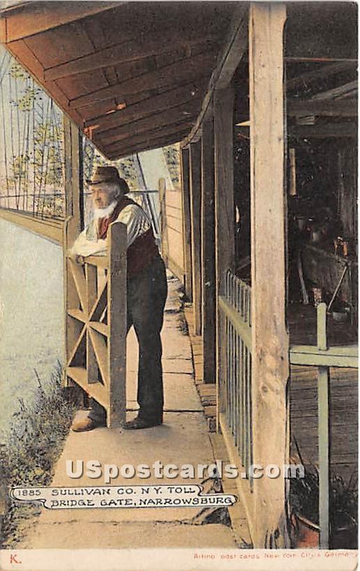 Toll Bridge Gate - Narrowsburg, New York NY Postcard