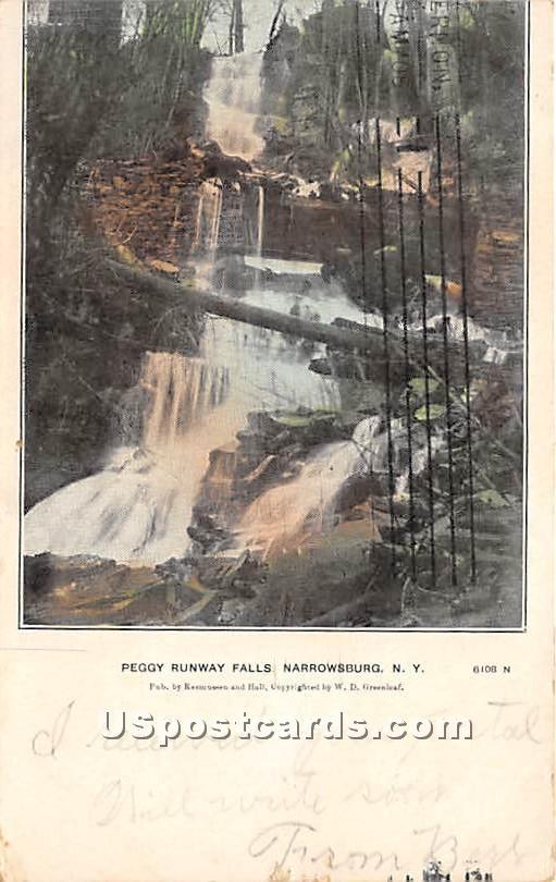 Peggy Runway Falls - Narrowsburg, New York NY Postcard