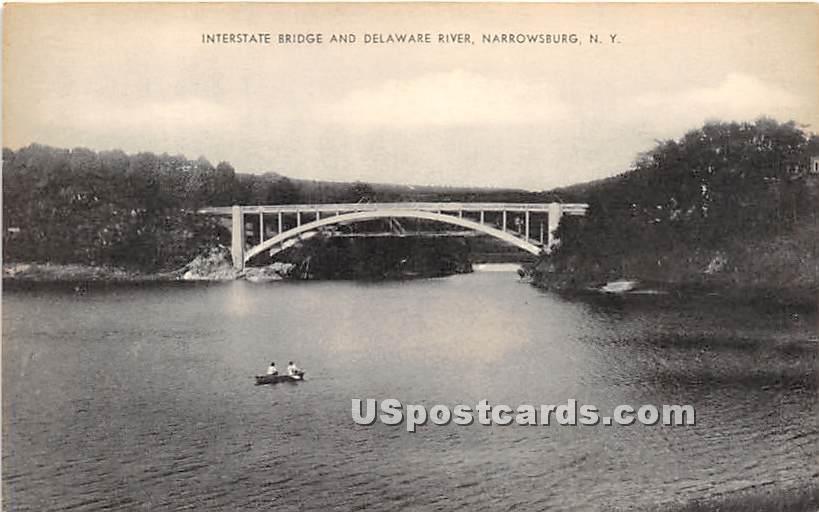 Interstate Bridge and Delaware River - Narrowsburg, New York NY Postcard