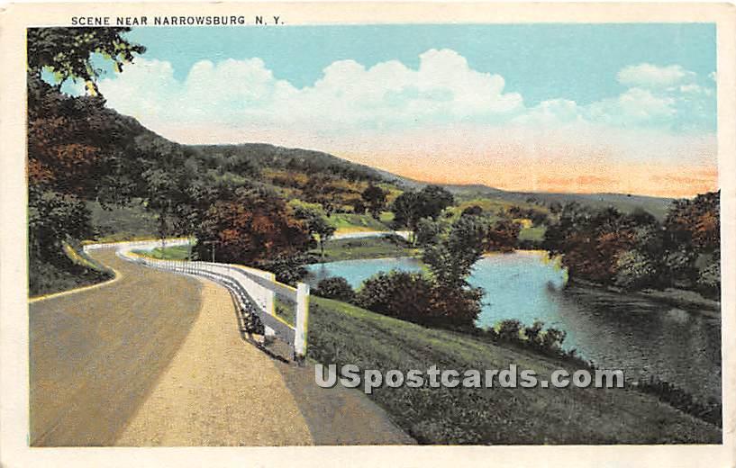 Road Scene - Narrowsburg, New York NY Postcard