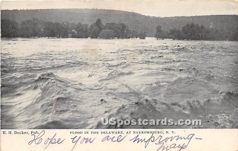 Flood in the Delaware - Narrowsburg, New York NY Postcard
