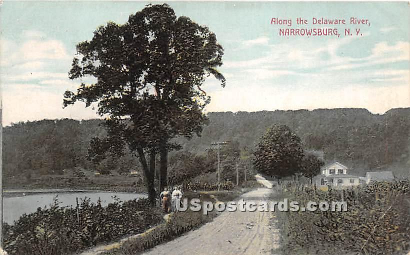 Along the Delaware River - Narrowsburg, New York NY Postcard
