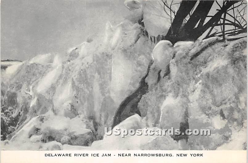 Delaware River Ice Jam - Narrowsburg, New York NY Postcard