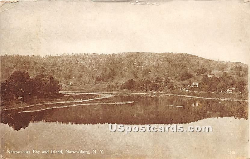 Narrowsburg Bay and Island - New York NY Postcard