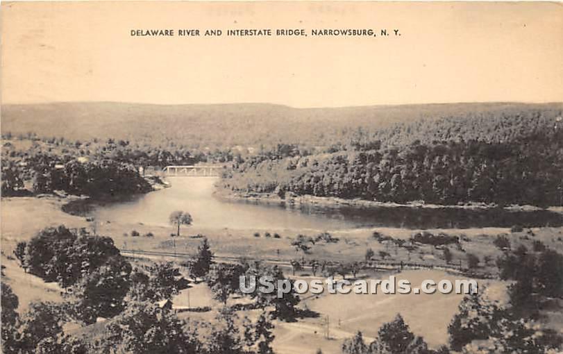 Delaware River and Interstate Bridge - Narrowsburg, New York NY Postcard