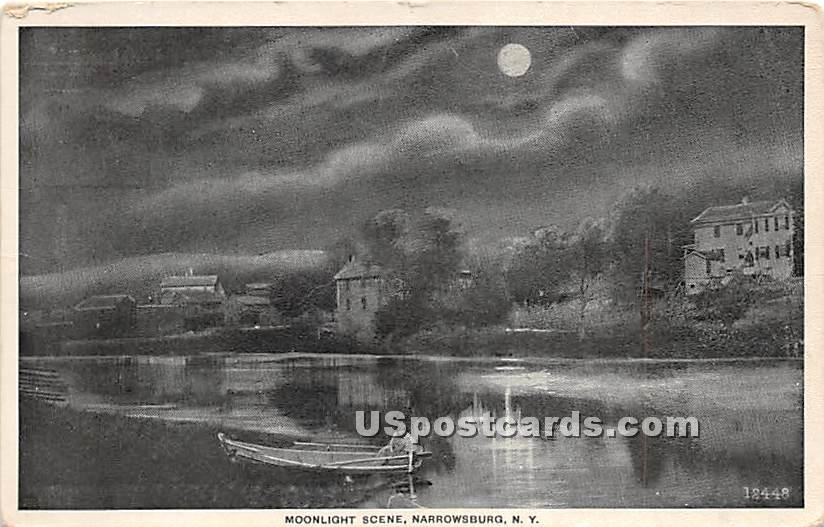 Moonlight Scene - Narrowsburg, New York NY Postcard