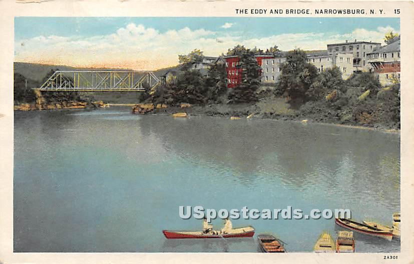 The Eddy and Bridge - Narrowsburg, New York NY Postcard