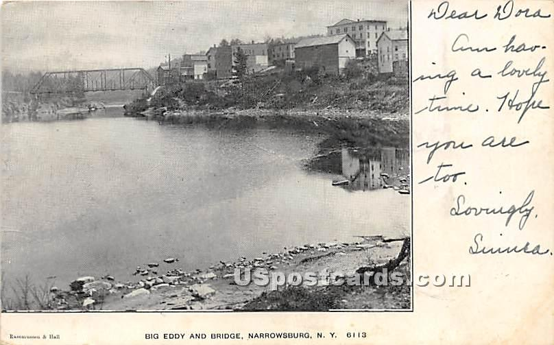 Big Eddy and Bridge - Narrowsburg, New York NY Postcard