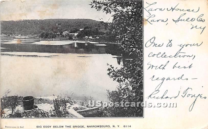 Big Eddy Below The Bridge - Narrowsburg, New York NY Postcard
