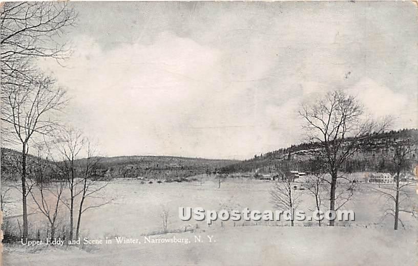 Upper Eddy and Scene in Winter - Narrowsburg, New York NY Postcard