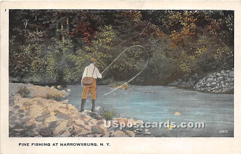 Fine Fishing - Narrowsburg, New York NY Postcard