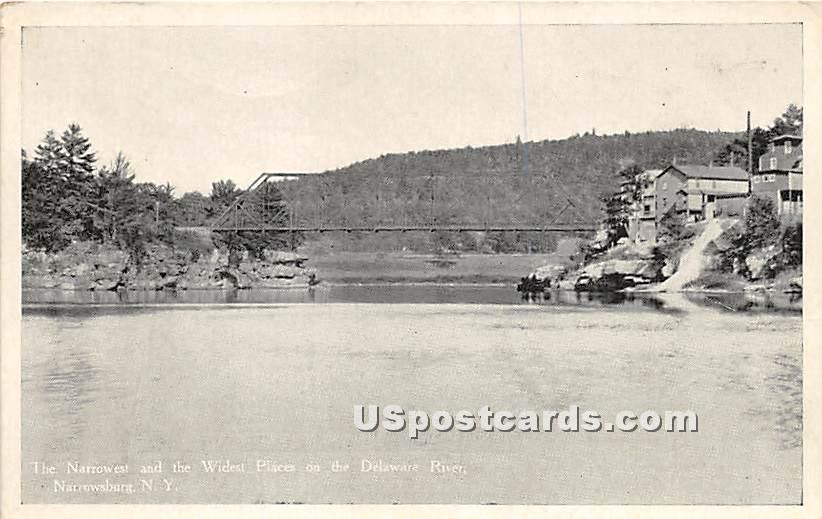 The Narrowest and the Widest Places on the Delaware River - Narrowsburg, New York NY Postcard