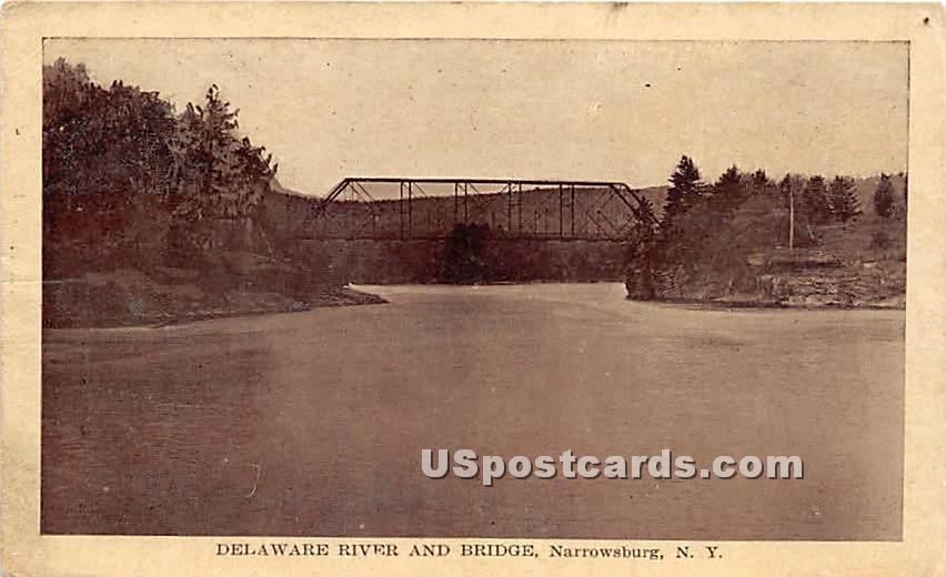 Delaware River and Bridge - Narrowsburg, New York NY Postcard