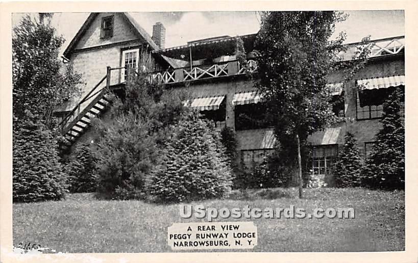 Rear View Peggy Runway Lodge - Narrowsburg, New York NY Postcard