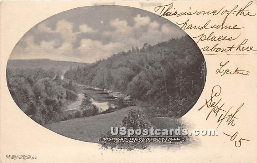 Below the Neversink Falls - New York NY Postcard