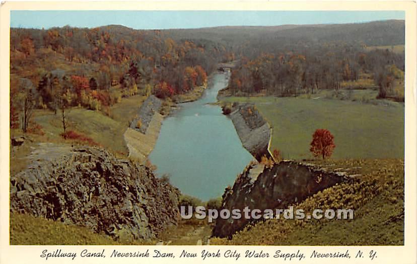 Spillway Canal - Neversink, New York NY Postcard