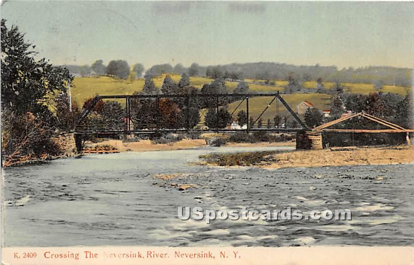 Crossing the Neversink River - New York NY Postcard