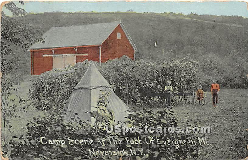 Camp Scene at the Foot of Evergreen Mountain - Neversink, New York NY Postcard