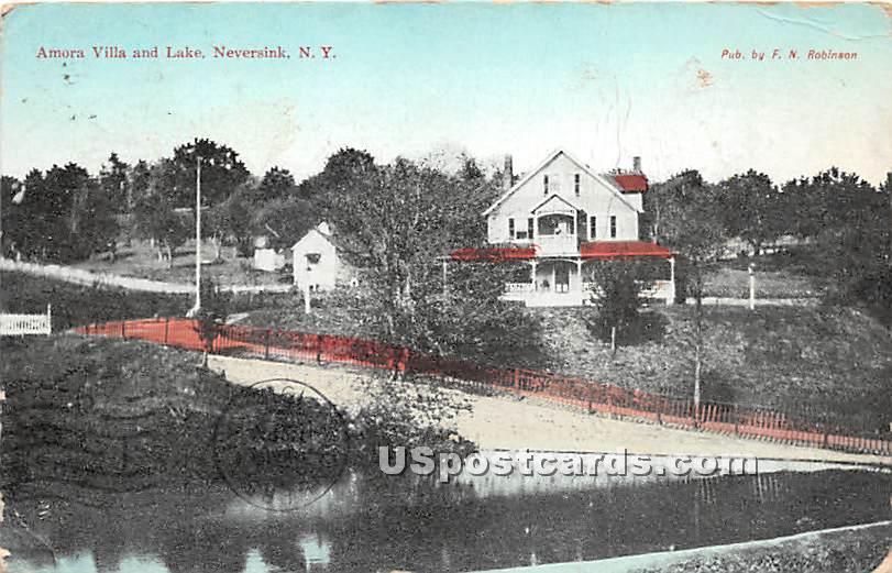 Amora Villa and Lake - Neversink, New York NY Postcard