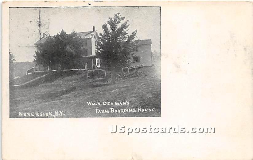 WM V Denman's Farm Boarding House - Neversink, New York NY Postcard