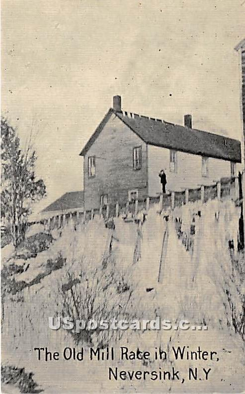 The Old Mill Race in Winter - Neversink, New York NY Postcard