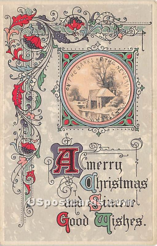 A Merry Christmas - Neversink, New York NY Postcard