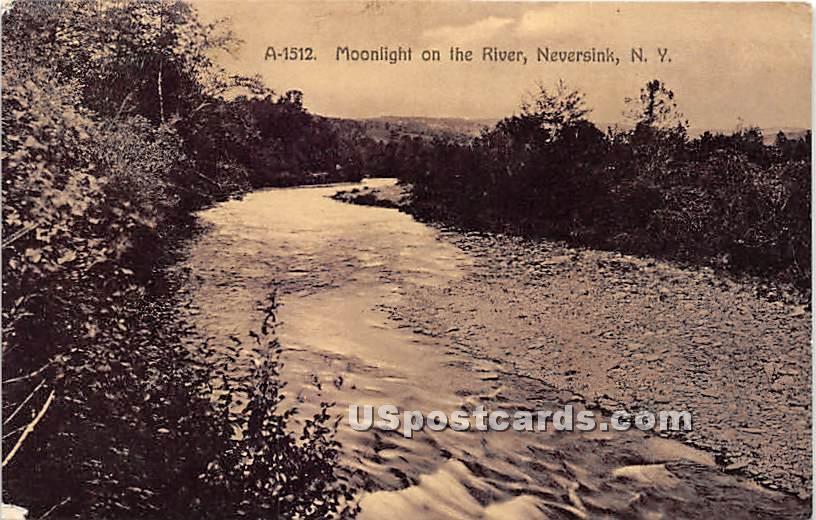 Moonlight on the River - Neversink, New York NY Postcard
