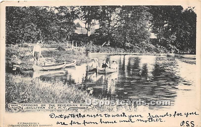 Canoeing on the Neversink River - New York NY Postcard