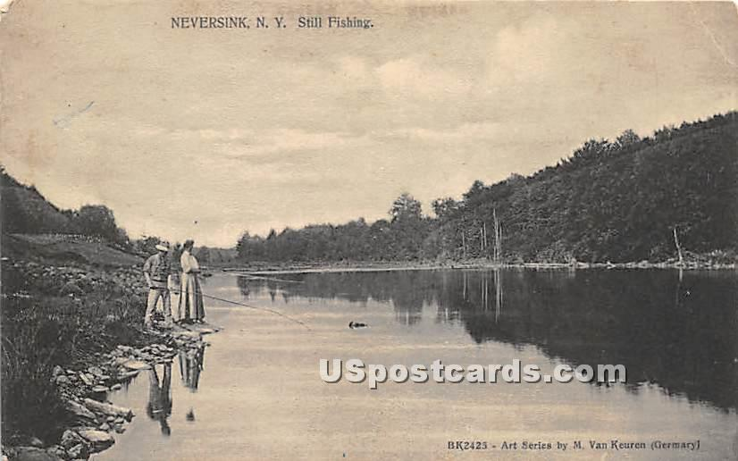 Still Fishing - Neversink, New York NY Postcard